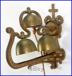 Rare Antique Church Monastery Brass Rope Pull Door Bell