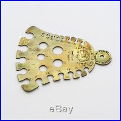 Rare Antique Knitting Needle Gauge Brass Bell Shape Faudel Phillips & Sons HTF