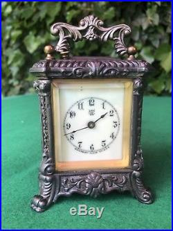 Rare Antique Ornate Waterbury Carriage Clock With Bell Alarm C1890