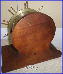 Rare Antique Waterbury USA Ships Wheel & Bell 8 Day Brass & Wood Mantel Clock