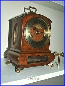 Rare Dutch Warmink/Wuba Mantle Clock, Cabinet, Pendulum Movement, 2 bells