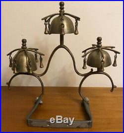 Rare HTF Antique 1800s Brass Horse Sleigh Bells Horse Drawn Carriage Door Chim