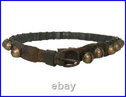 Rare Mid-late 19th C American Antique 25 Etched Brass Sleigh Bell Leather Belt
