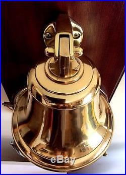 Rare SCHATZ ROYAL MARINER Ship's Nautical Open Bell Clock, Brass withChrome-Bezel