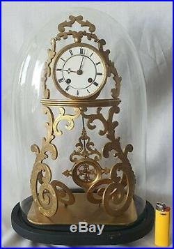 Rare Skeleton Clock French Vincent & Cie Antique Glass Dome 8 Day Bell Strike