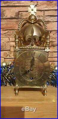 Rare Vintage 1937 Coronation Lantern Clock Made In England Chimes On A Bell