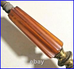 Rare Vintage Art Deco Bakelite Amber Color Table Lamp Works good 16 H