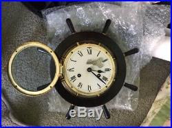 Rare Vintage Schatz German Ships Wheel Bulkhead Brass Cased Striking Bell Clock