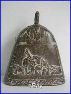 Rare antique temple elephant bell made of bronze & brass