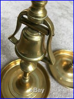 Rare pair of 19th Century Brass Tavern Candlestick With Bell