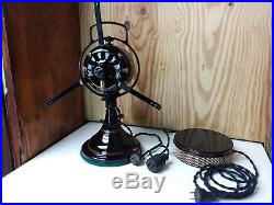 Restored Antique Ge 12 Bell Oscillation DC Fan, Brass Blade And Steel Cage