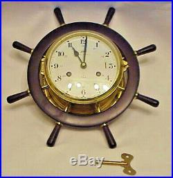 Running Schatz Royal Mariner 8 Day Ship Bell Brass Wall Clock Wood Wheel Germany