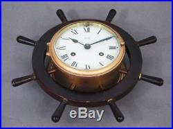 SCHATZ MARINER SHIPS BELLS 8 DAY BRASS BULKHEAD CLOCK ship boat yacht timepiece