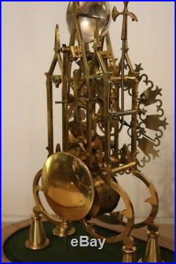 SKELETON CLOCK by E. DENT single fusee, passing bell strike, working order c1981