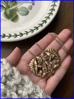 SNAKE Art NOUVEAU French BEAST Belle Epoque Gold P FLORAL Pendant Necklace Chain