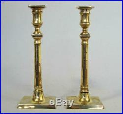 SUPERB PR LARGE GEORGIAN ANTIQUE BELL METAL BRONZE CANDLESTICKS 1800 brass