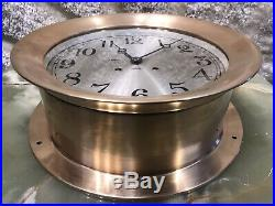 SURE LARGE 10.7 Inch USA CHELSEA BRASS SHIPS BELL CHIMES CLOCK BOSTON WORKING