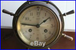 Salem Clock (ships) on Mahogany Base 8-day & bell. With Key & paperwork