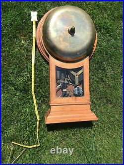 Scare 1800s Antique Gamewell FIREHOUSE Brass 15in. GONG ALARM Bell in OAK