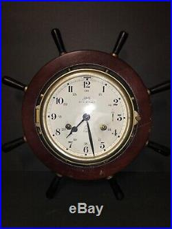 Schatz ROYAL MARINER Ship's 8 Day Bell Key Wind Clock Wood Ship Wheel Design Vtg