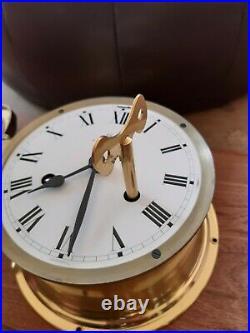 Schatz Royal Mariner 8 Day Brass Ships Clock 8 Bells Perfect Working Order
