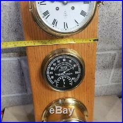 Schatz Royal Mariner 8 Day Ship Bell Clock Germany, Schatz Barometer, Abbeon Tem