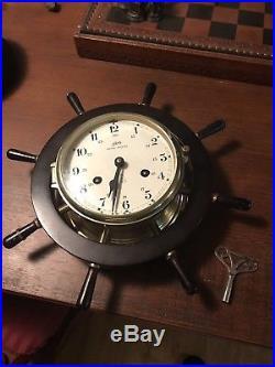 Schatz Royal Mariner Ships Bell Clock, Chimes And Runs