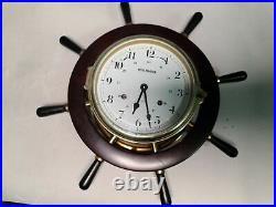 Schatz Royal Mariner Vtg Ships Bell 8 Day Helm Clock +2s Nautical Yacht Decor