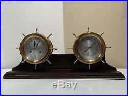 Schatz Ships Bell 8 Day 7 Jewels Clock and Barometer in Working Condition