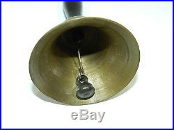 School Bell Brass Hand Held Wood Handle Antique Town Crier