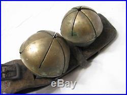 Set 4 Antique Brass/Bronze Swedish/Swiss Sleigh Bells Rump Strap Sleighbells