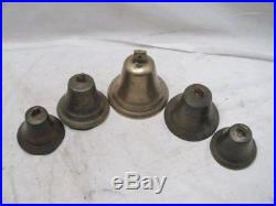 Set 5 Antique Hames Shaft Buggy Brass/Bronze Sleigh Bells Tree Equestrian Horse