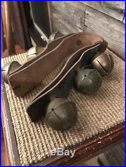 Set 6 Antique Brass/Bronze Swedish/Swiss Sleigh Bells Rump Strap