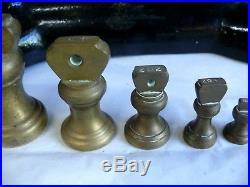 Set Antique Libra Cast Iron Balance Scales & Brass Bell Pounds Ounces Weights
