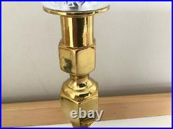Set of 2 Vintage Bedside Solid Brass and Crystal Nightstand Light Table Lamp