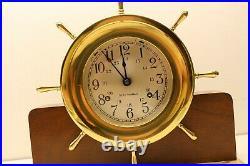 Seth Thomas Brass Helmsman E537-001 8 Day Ships Bell Clock On Wood Base Has Key