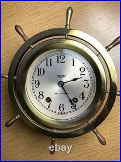 Seth Thomas Brass Ships Bell Clock and Barometer c. 1941 Nice Set