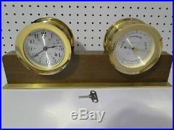 Seth Thomas Helmsman Corsair Ships Bell Clock E537 Barometer & Stand working