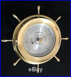Seth Thomas Helmsman Ships Bell 4 Dial Clock Barometer & Mahogany Stand Working