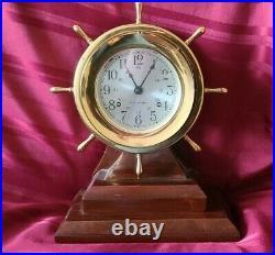 Seth Thomas Helmsman Ships Clock Strikes Ships Bell On Wood Base