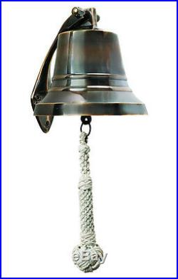 Ship's Bell Solid Brass 5 Bronzed Finish Nautical Marine Wall Hanging Decor New