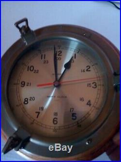 Ship's Clock Bell Clock Co Quartz Brass/Oak USA