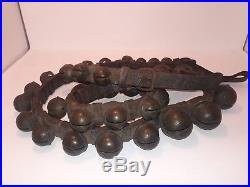 Sleigh Bells Antique Graduated Sizes All Brass 86 Leather Strap Nice Sound