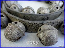 Sleigh Bells Egg Stamped sz 2 Brass Rivet 44 Strap c1890s Christmas Jingle Horse