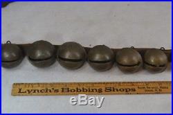 Sleigh bells brass 70 leather strap 25 bells 2.5 across original antique best