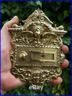 Solid Brass Decorative Large Push Bell Plate & Space Name Cherub Angel Project