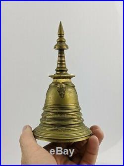 Sri Lankan Antique Buddhist Stupa Bell in Brass / Bronze c18th/19th Tibetan FINE