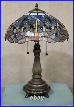 Stained Glass Tiffany Style Yellow Dragonfly Table Lamp 2 Lights 16 Shade