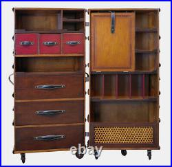 Stateroom Armoire Black Steamer Travel Trunk 51 Antiqued French Finish New