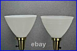 Stiffel Hollywood Regency Style Torchiere Buffet Lamps Glass Diffusers Lot of 2
